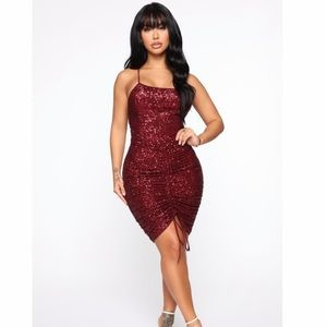 BNIB red ruched sequin dress